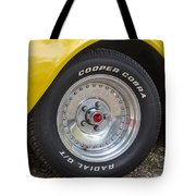 1976 Canary Yellow Vette Wheel Tote Bag