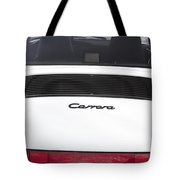 1987 White Porsche 911 Carrera Back Tote Bag