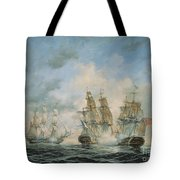 19th Century Naval Engagement In Home Waters Tote Bag by Richard Willis