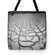 1a6832 Bw Mud Cracks In Death Valley Tote Bag