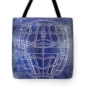 1887 Baseball Mask Patent Blue Tote Bag