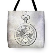 1916 Pocket Watch Patent Blueprint Tote Bag