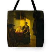 A Couple Playing Cards With A Serving Woman Tote Bag