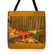 A Foliage Pillow On A Bench In A Woodland Tote Bag