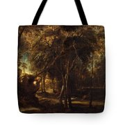 A Forest At Dawn With A Deer Hunt Tote Bag