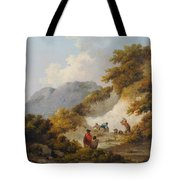 A Mother And Child Watching Workman In A Quarry, Tote Bag