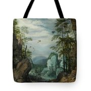 A Rocky Landscape With Travelers Tote Bag