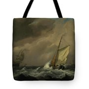 A Small Dutch Vessel Close-hauled In A Strong Breeze Tote Bag