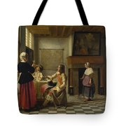 A Woman Drinking With Two Men Tote Bag