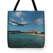 Air Caraibes Landing At St. Maarten Tote Bag