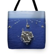 Aircraft Carrier Uss Ronald Reagan Tote Bag