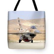 An Israeli Air Force F-16a Netz Taxiing Tote Bag