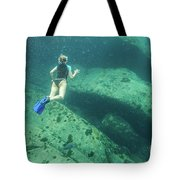 Apnea In Tropical Sea Tote Bag
