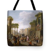 Architectural Ruin With A Crowd Tote Bag
