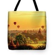 Bagan Pagodas And Hot Air Balloon Tote Bag by Pradeep Raja PRINTS