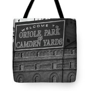 Baltimore Orioles Park At Camden Yards Bw Tote Bag
