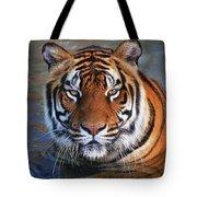 Bengal Tiger Laying In Water Tote Bag