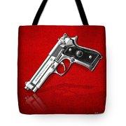 Beretta 92fs Inox Over Red Leather  Tote Bag