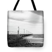 Black And White Image Of Shorncliffe Pier Tote Bag