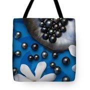 Black Pearls And Tiare Flowers Tote Bag