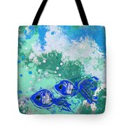 2 Blue Fish Tote Bag