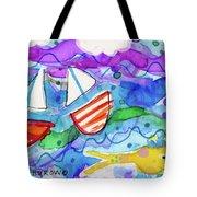 2 Boats And Yellow Fish Tote Bag
