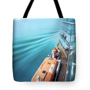 Browsing Around Cruise Ship On The Pacific Ocean Tote Bag