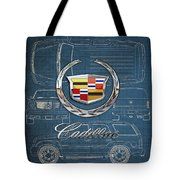 Cadillac 3 D Badge Over Cadillac Escalade Blueprint  Tote Bag
