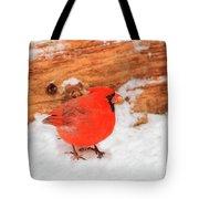 #2 Cardinal In Snow Tote Bag