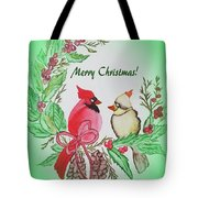 Cardinals Painted By Debbie Woodrow Tote Bag