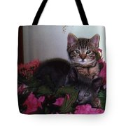 2 Cats In The Flowers Tote Bag