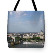 Chain Bridge On Danube River Budapest Cityscape Tote Bag