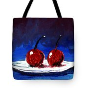 2 Cherries On A White Plate Tote Bag
