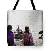 Children At The Pond 5 Tote Bag