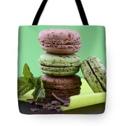 Chocolate And Mint Flavor Macaroons On Dark Wood Table Tote Bag