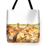 Cityscape With Mountain Tote Bag