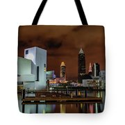 Cleveland Skyline At Night Tote Bag