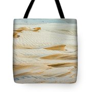Close-up Of Beautiful Sunlit Ripple Surface Of Sand In Desert  Tote Bag
