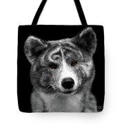 Closeup Portrait Of Akita Inu Dog On Isolated Black Background Tote Bag
