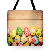 Colorful Hand Painted Easter Eggs On Wood Tote Bag