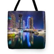 Colorful Night Dubai Marina Skyline, Dubai, United Arab Emirates Tote Bag