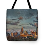 Cotton Candy Sky Over Charlotte North Carolina Downtown Skyline Tote Bag