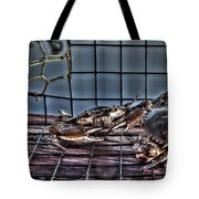2 Crabs In Trap Tote Bag by Tommy Patterson
