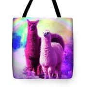 Crazy Funny Rainbow Llama In Space Tote Bag