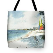 Blue Heron And Hobie Cats, Crescent Beach, Siesta Key Tote Bag