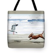 Dachshund At The Beach  Tote Bag