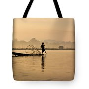 Dawn On Inle Lake Tote Bag