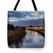 Dawn Over The Town River Tote Bag