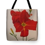 2 Daylillies In Red Tote Bag