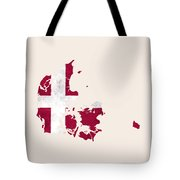 Denmark Map Art With Flag Design Tote Bag